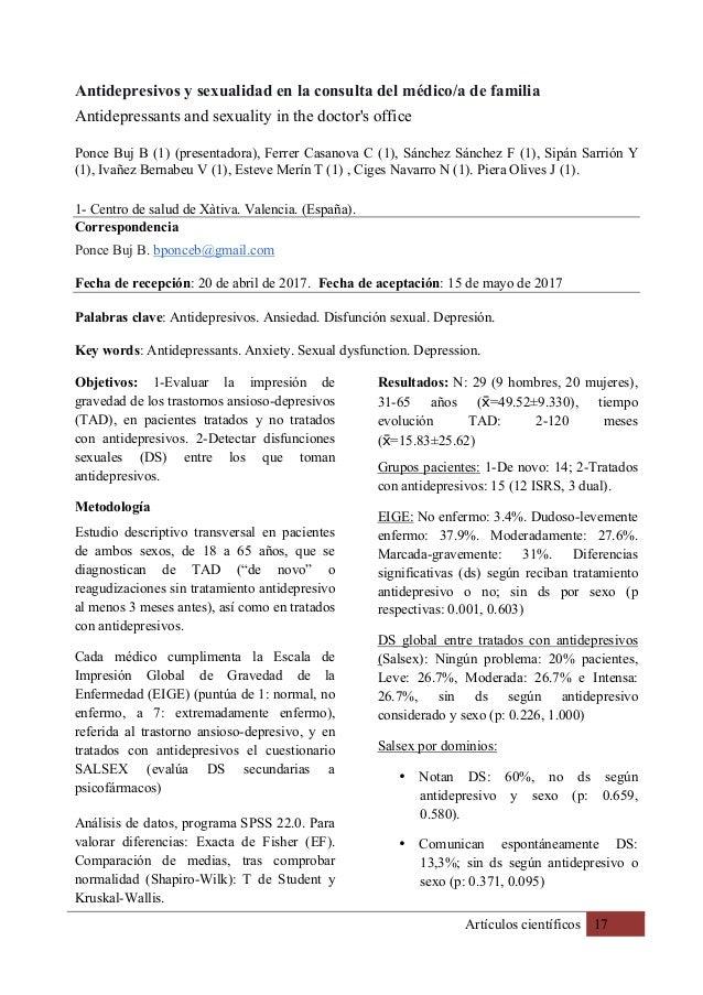 Artículos científicos 17 Antidepresivos y sexualidad en la consulta del médico/a de familia Antidepressants and sexuality ...