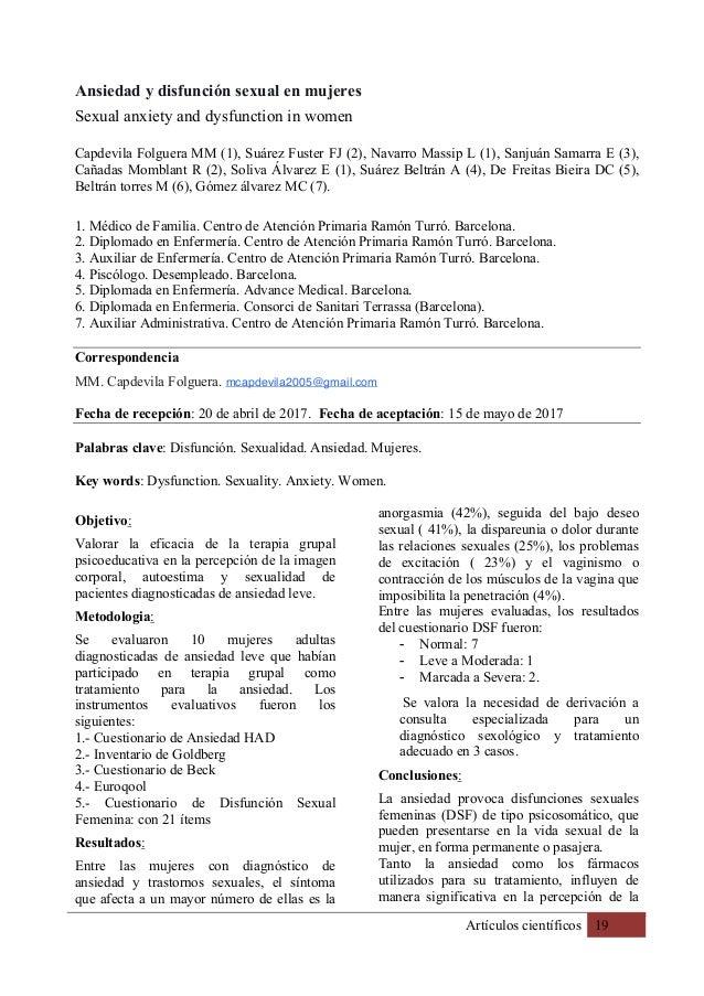 Artículos científicos 19 Ansiedad y disfunción sexual en mujeres Sexual anxiety and dysfunction in women Capdevila Folguer...