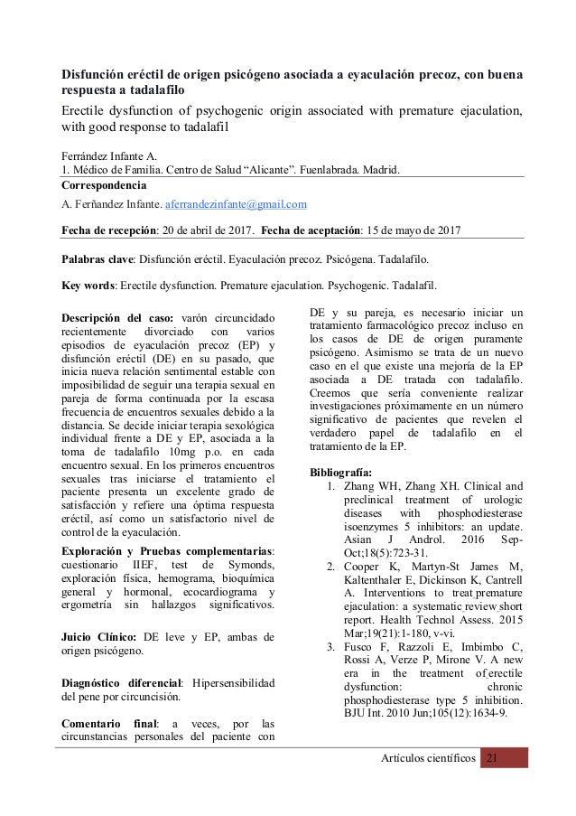 Artículos científicos 21 Disfunción eréctil de origen psicógeno asociada a eyaculación precoz, con buena respuesta a tadal...