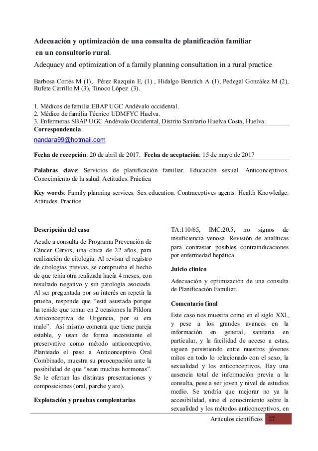 Artículos científicos 27 Adecuación y optimización de una consulta de planificación familiar en un consultorio rural. Adeq...