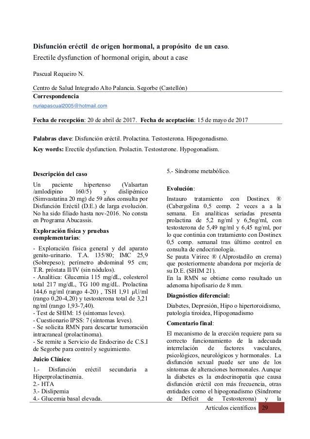 Artículos científicos 29 Disfunción eréctil de origen hormonal, a propósito de un caso. Erectile dysfunction of hormonal o...