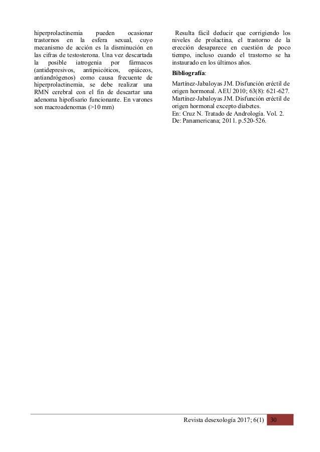 Revista desexología 2017; 6(1) 30 hiperprolactinemia pueden ocasionar trastornos en la esfera sexual, cuyo mecanismo de ac...