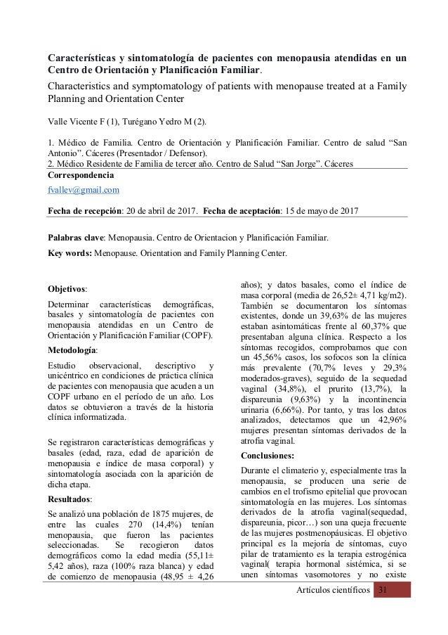 Artículos científicos 31 Características y sintomatología de pacientes con menopausia atendidas en un Centro de Orientació...