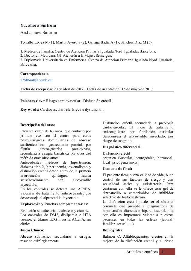 Artículos científicos 41 Y.., ahora Sintrom And .., now Sintrom Torralba López M (1), Martín Ayuso S (2), Garriga Badía A ...