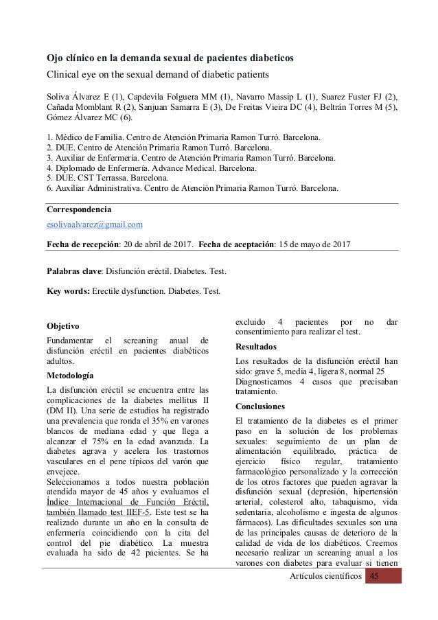 Artículos científicos 45 Ojo clínico en la demanda sexual de pacientes diabeticos Clinical eye on the sexual demand of dia...