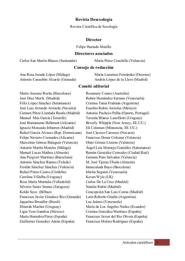 Artículos científicos 5 Revista Desexología Revista Científica de Sexología Director Felipe Hurtado Murillo Directores aso...