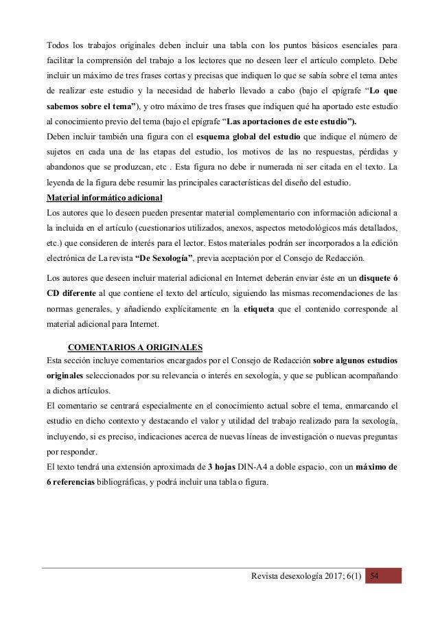 Revista desexología 2017; 6(1) 54 Todos los trabajos originales deben incluir una tabla con los puntos básicos esenciales ...