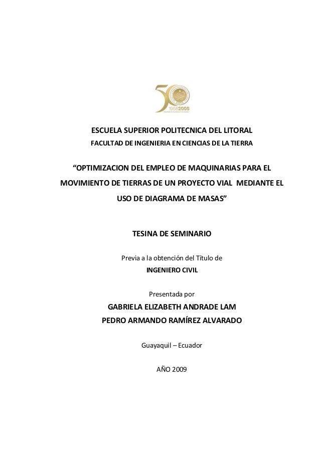"""ESCUELA SUPERIOR POLITECNICA DEL LITORAL FACULTAD DE INGENIERIA EN CIENCIAS DE LA TIERRA  """"OPTIMIZACION DEL EMPLEO DE MAQU..."""