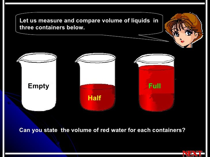 Let us measure and compare volume of liquids  in three containers below. Can you state  the volume of red water for each c...