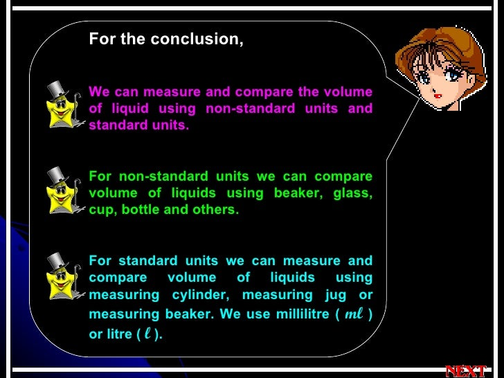 For the conclusion,   We can measure and compare the volume of liquid using non-standard units and standard units. For non...