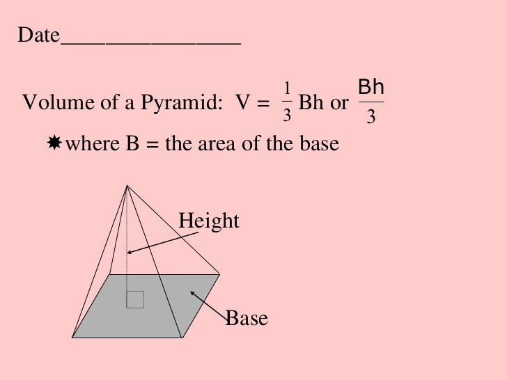 Date________________                         1       BhVolume of a Pyramid: V = 3 Bh or                                  3...