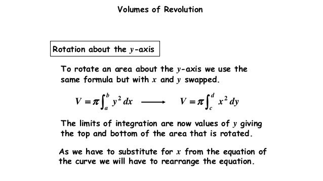 Volume of revolution volumes of revolution to rotate an area about the y axis ccuart Image collections