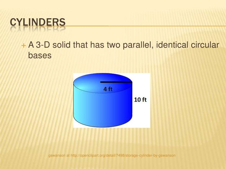 CYLINDERS A 3-D solid that has two parallel, identical circular  bases       gswanson at http://openclipart.org/detail/74...