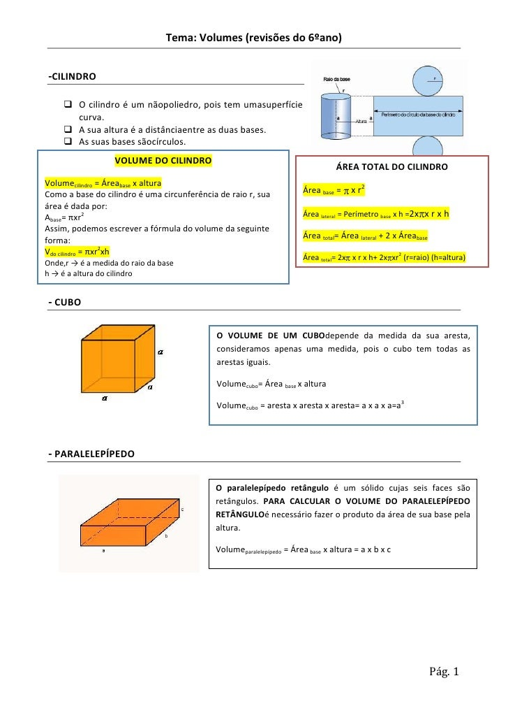 Tema: Volumes (revisões do 6ºano)-CILINDRO      O cilindro é um nãopoliedro, pois tem umasuperfície       curva.      A ...