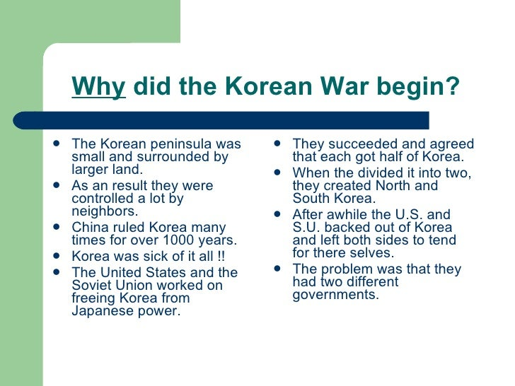 why did the korean war start essay What caused the korean war history essay the war that started in 1950 which lasted for this essay will examine the causes of the korean war including.