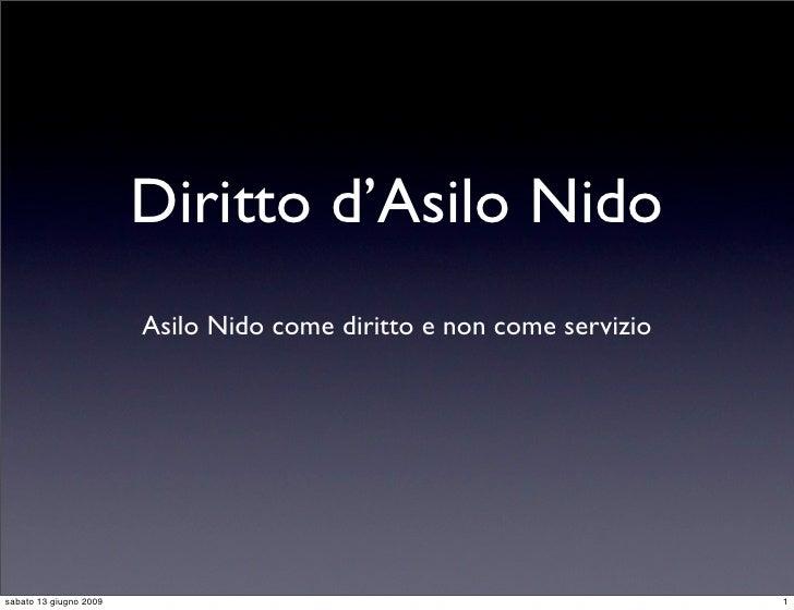 Diritto d'Asilo Nido                         Asilo Nido come diritto e non come servizio     sabato 13 giugno 2009        ...