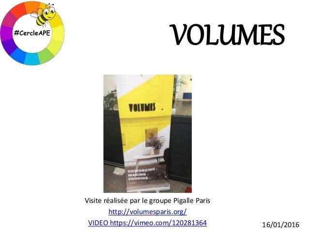 VOLUMES Visite réalisée par le groupe Pigalle Paris http://volumesparis.org/ VIDEO https://vimeo.com/120281364 16/01/2016