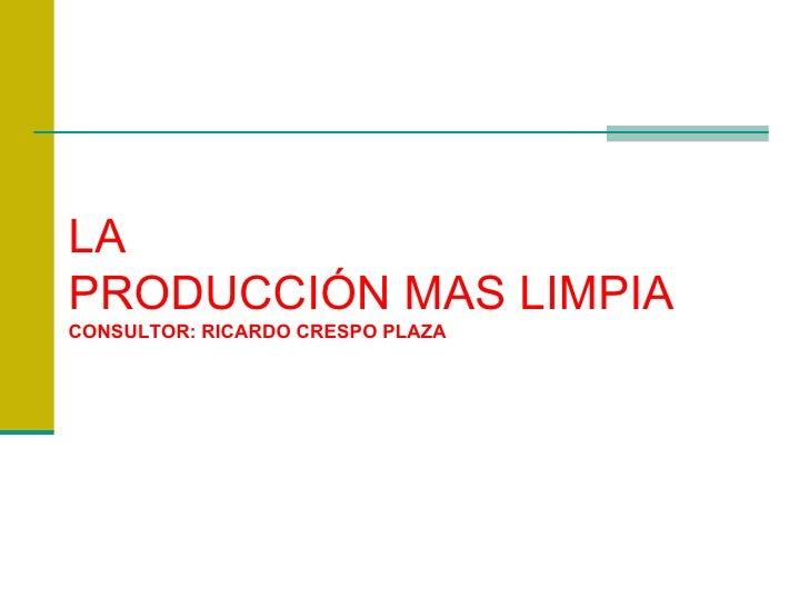 LA PRODUCCIÓN MAS LIMPIA CONSULTOR: RICARDO CRESPO PLAZA