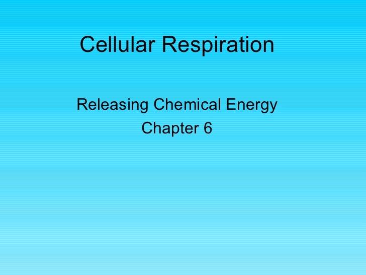 Cellular RespirationReleasing Chemical Energy        Chapter 6