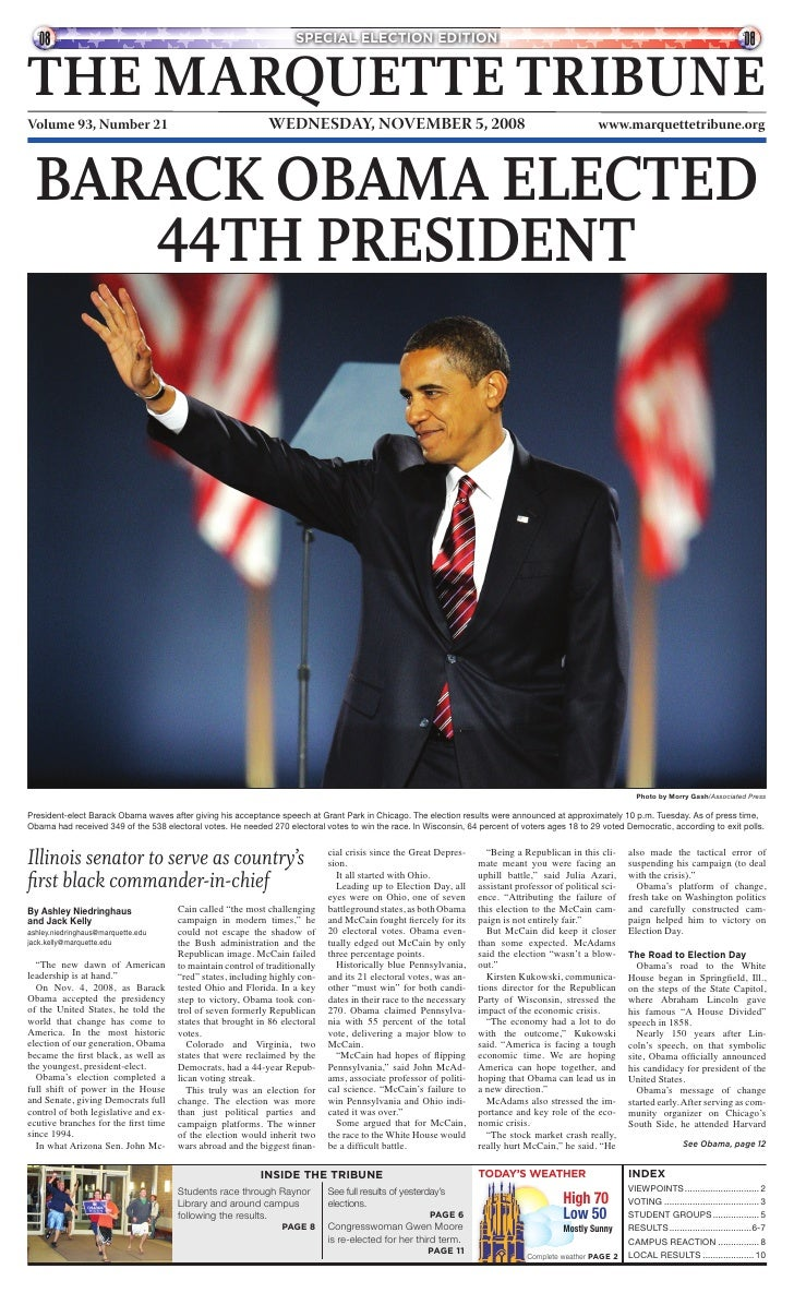 SPECIAL ELECTION EDITION   THE MARQUETTE TRIBUNE                                                              WEDNESDAY, N...