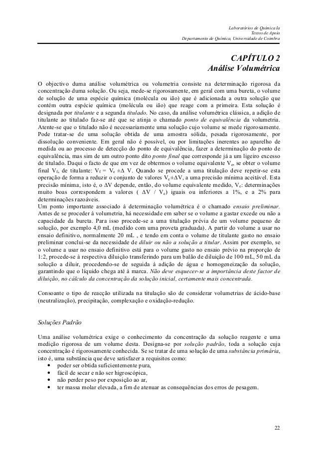 Laboratórios de Química Ia Textos de Apoio Departamento de Química, Universidade de Coimbra 22 CAPÍTULO 2 Análise Volumétr...