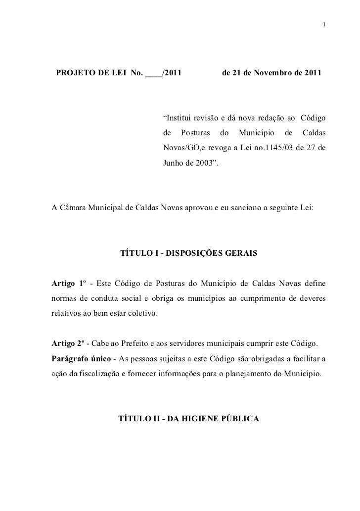 """1 PROJETO DE LEI No. ____/2011                        de 21 de Novembro de 2011                                   """"Institu..."""