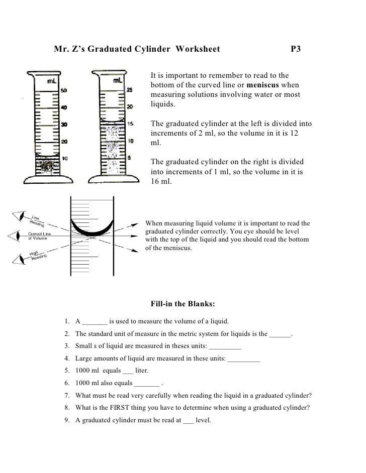 3. Mr. Z\u0027s Graduated Cylinder Worksheet ...