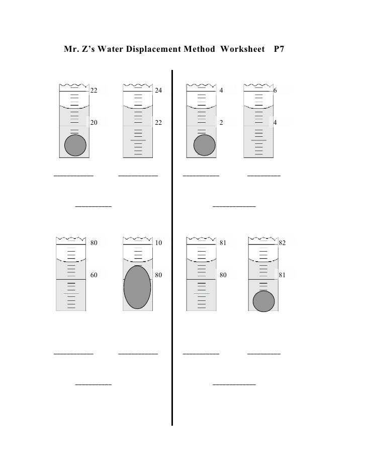 ... 7. Mr. Z\u0027s Water Displacement Method Worksheet ...