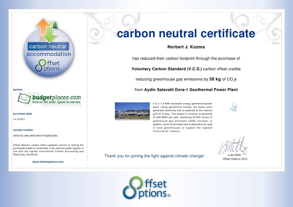 carbon neutral certificate                                                                                                ...