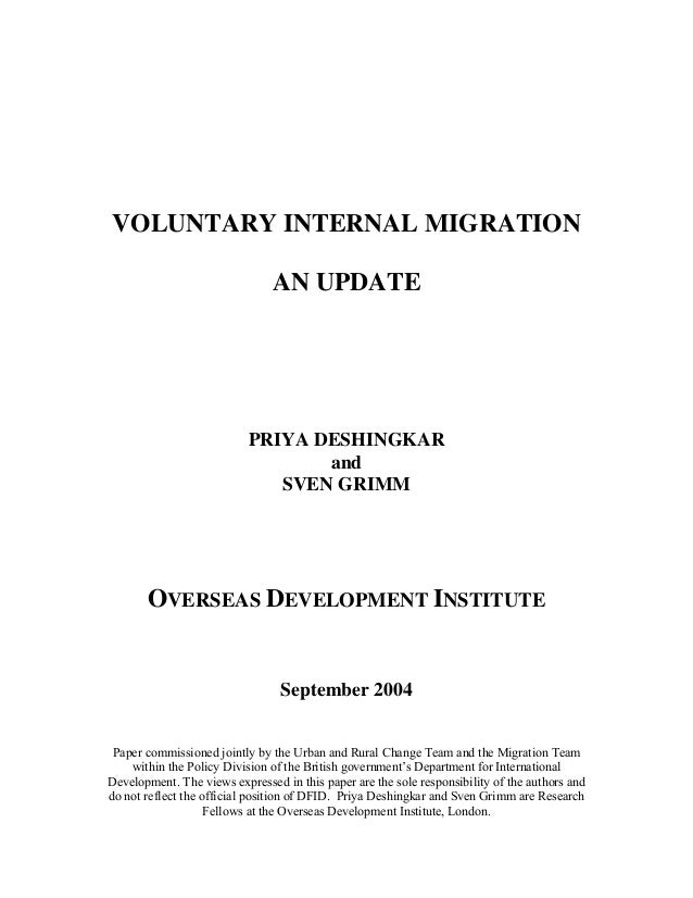 Voluntary Internal Migrationupdate