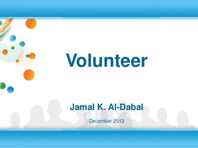 VolunteerJamal K. Al-Dabal    December 2012