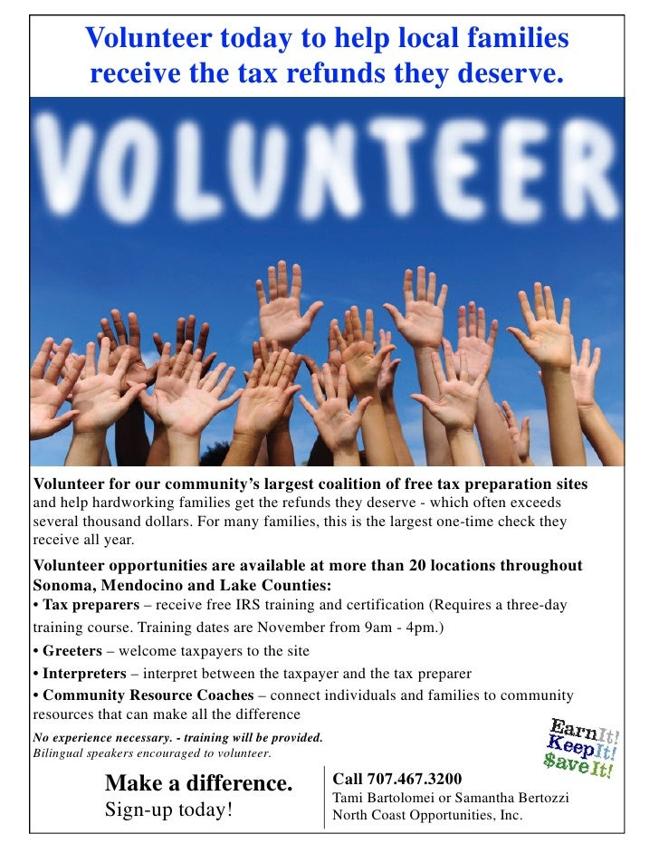 Volunteer today to help local families         receive the tax refunds they deserve.Volunteer for our community's largest ...
