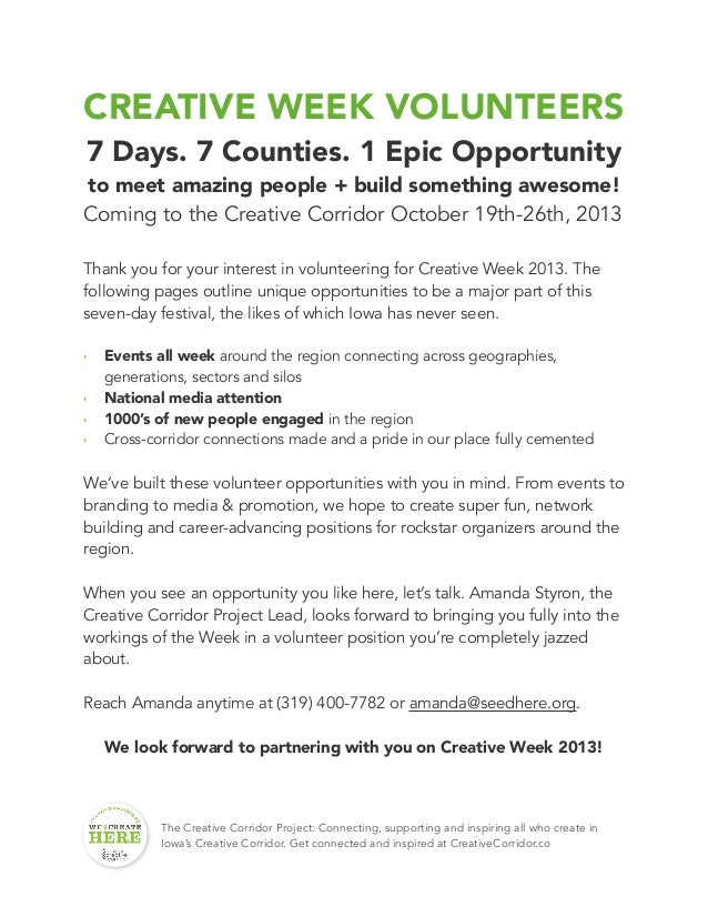 CREATIVE WEEK VOLUNTEERS 7 Days. 7 Counties. 1 Epic Opportunity to meet amazing people + build something awesome! Coming t...