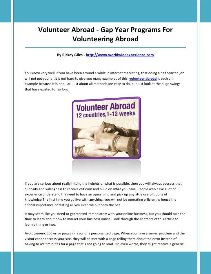 Volunteer Abroad - Gap Year Programs For                   Volunteering Abroad____________________________________________...
