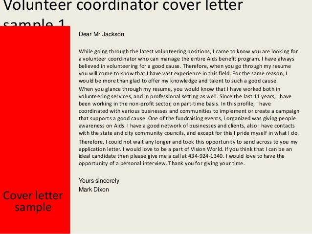 Volunteer coordinator cover letter