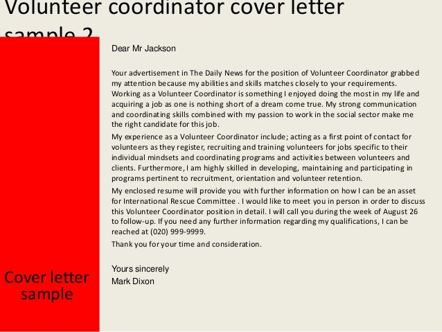 Volunteer coordinator cover letter for How to write a cover letter for volunteering