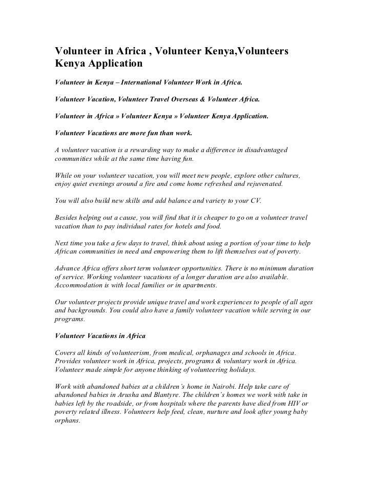 Volunteer in Africa , Volunteer Kenya,VolunteersKenya ApplicationVolunteer in Kenya – International Volunteer Work in Afri...
