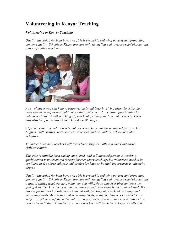 Volunteering in Kenya: TeachingVolunteering in Kenya: TeachingQuality education for both boys and girls is crucial in redu...