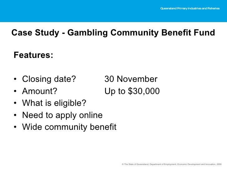 Queensland treasury gambling community benefit fund