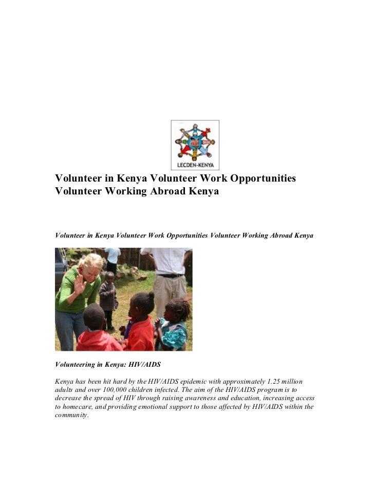 Volunteer in Kenya Volunteer Work OpportunitiesVolunteer Working Abroad KenyaVolunteer in Kenya Volunteer Work Opportuniti...