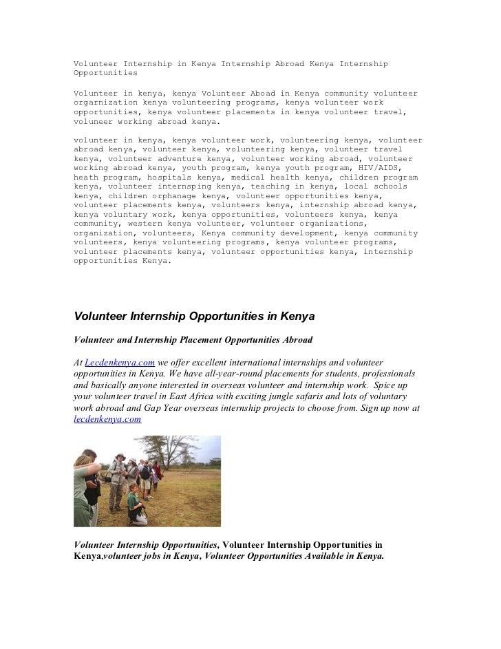 Volunteer Internship in Kenya Internship Abroad Kenya InternshipOpportunitiesVolunteer in kenya, kenya Volunteer Aboad in ...