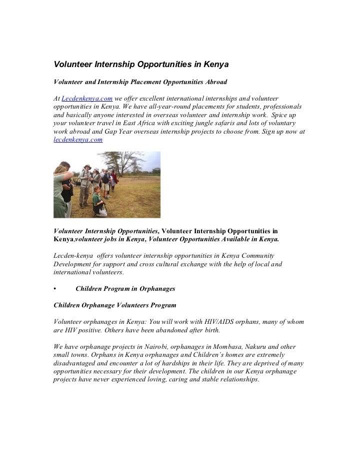 Volunteer Internship Opportunities in KenyaVolunteer and Internship Placement Opportunities AbroadAt Lecdenkenya.com we of...