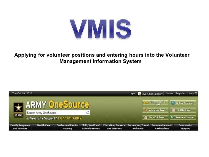 Applying for volunteer positions and entering hours into the Volunteer                  Management Information System