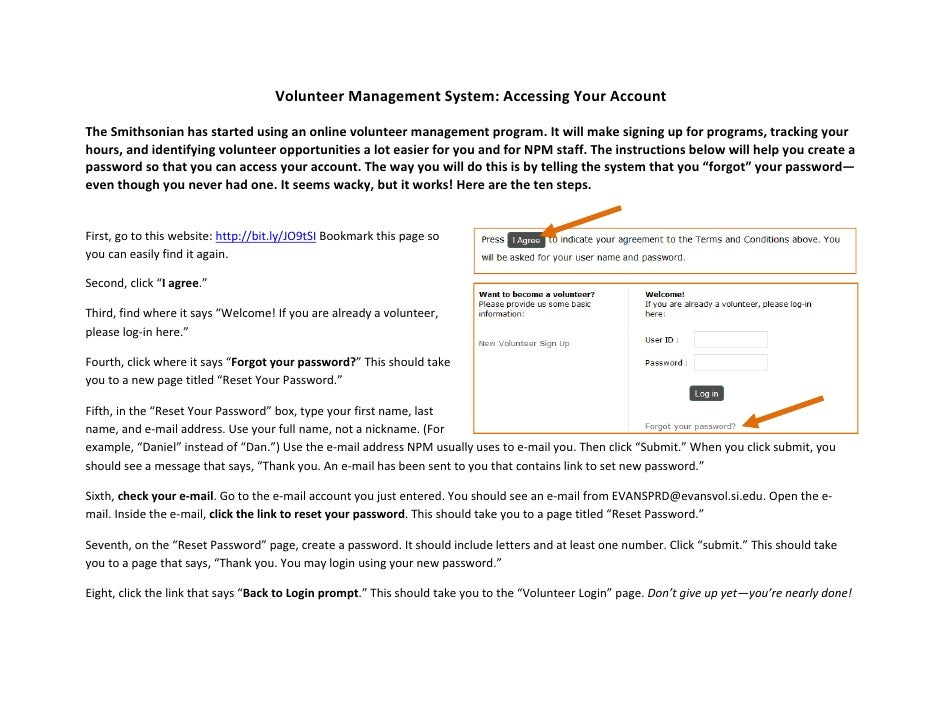 VolunteerManagementSystem:AccessingYourAccount                                                                  The...