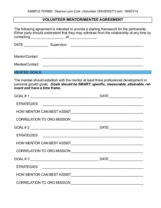 mentor evaluation form samples Introducing a Volunteer Mentoring Program - Part I