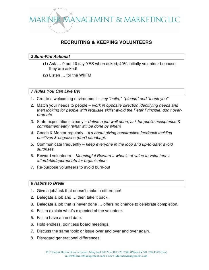 RECRUITING & KEEPING VOLUNTEERS  2 Sure-Fire Actions!        (1) Ask … 9 out 10 say YES when asked; 40% initially voluntee...