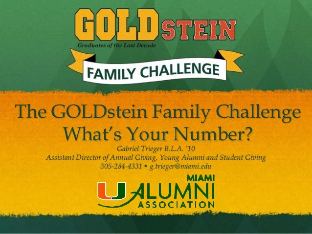 The GOLDstein Family Challenge     What's Your Number?                          Gabriel Trieger B.L.A. '10   Assistant Dir...