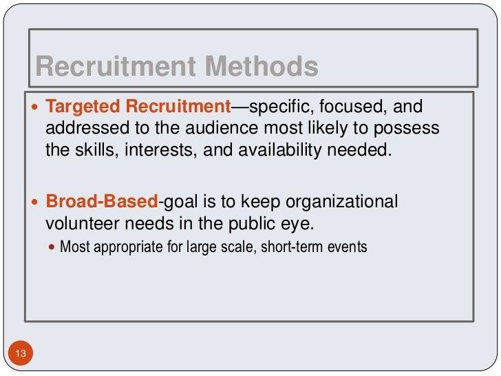 Volunteer recruiting the dating method