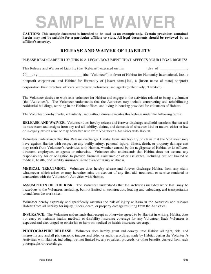 Volunteer release and waiver template for Waiver of liability template uk