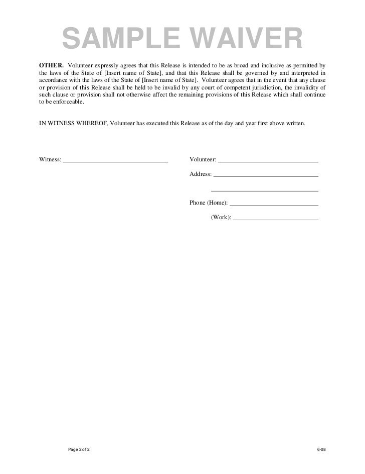 Sample waiver form free printable documents for Waiver of responsibility template